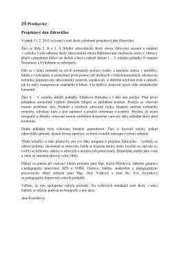 ZŠ Proskovice Projektový den Zdravíčko