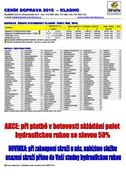 ceník doprava - ŽIRAFA