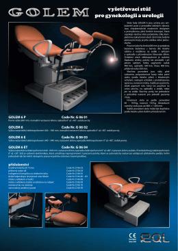 Prospekt GOLEM 6ET – vyšetřovací stůl pro gynekologii a urologii