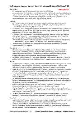 Směrnice pro stavební úpravy v bytových jednotkách v domě