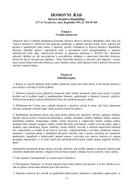 Domovní řád BD Republika \(úpravy AK Matoušek - bd