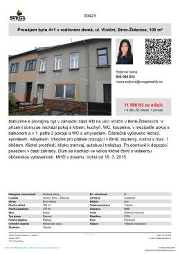 Pronájem bytu 4+1 v rodinném domě, ul. Viniční, Brno