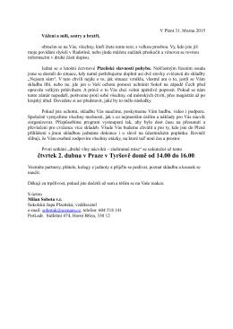 čtvrtek 2. dubna v Praze v Tyršově domě od 14.00 do 16.00.