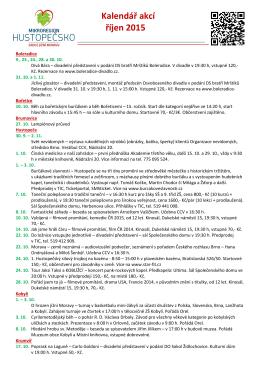 Kalendář akcí říjen 2015