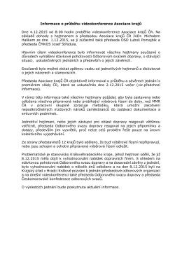 Informace o průběhu videokonference Asociace krajů Dne 4.12