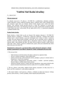Vnitřní řád školní družiny - Základní škola a Mateřská škola Býchory