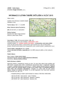 Informace o táboře SaV 2015 - Program