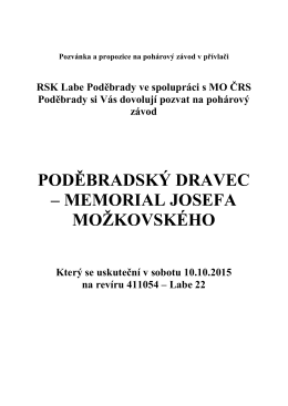 Propozice Poděbradský dravec – memoriál Josefa Možkovského