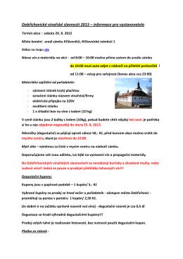 Informace pro vystavovatele DVS 2015 – ZDE