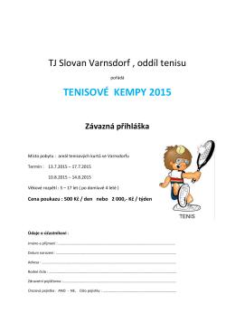 TENISOVÉ KEMPY 2015 - Tenis Varnsdorf