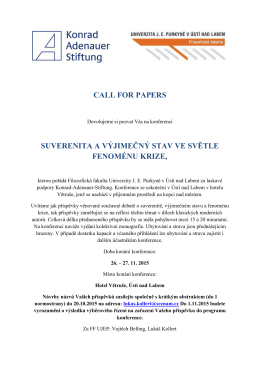 call for papers suverenita a výjimečný stav ve světle fenoménu krize