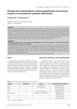 Aktuální stav standardizace měření katalytických koncentrací