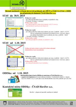 STAV do 30.9. 2015 STAV od 1.10. 2015 ODISka od 1.10. 2015