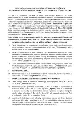 Veřejný návrh na odkoupení akcií společnosti ze strany PPF A4