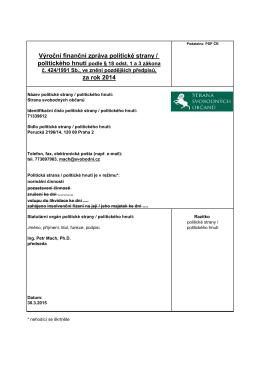 Výroční finanční zpráva politické strany / za rok 2014