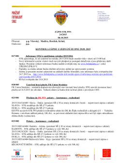 24. Zápis STK ze dne 06.10.2015