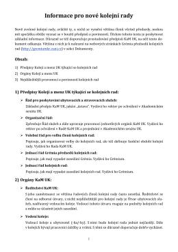 Informace pro nové kolejní rady - Grémium předsedů kolejních rad