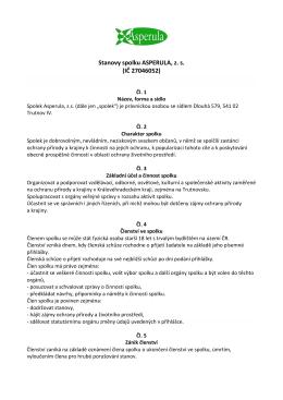 Stanovy spolku ASPERULA, z. s. (IČ 27046052)
