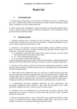ŠKOLNÍ ŘÁD - Gymnázium, Nový Bydžov