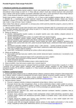 Pravidla Programu Čistá energie Praha 2015 I. Všeobecné