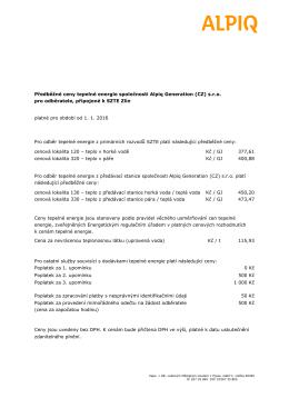 Předběžné ceny tepelné energie společnosti Alpiq Generation (CZ