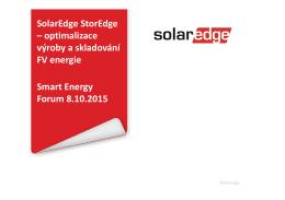 SolarEdge StorEdge – optimalizace výroby a skladování FV energie