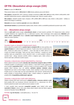 OP PIK: Obnovitelné zdroje energie (OZE)