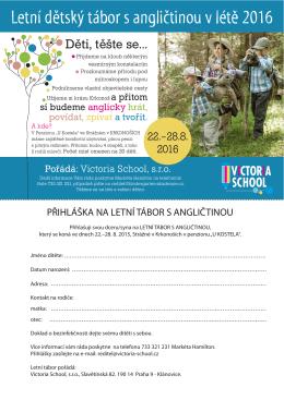 přihláška tábor - victoria school