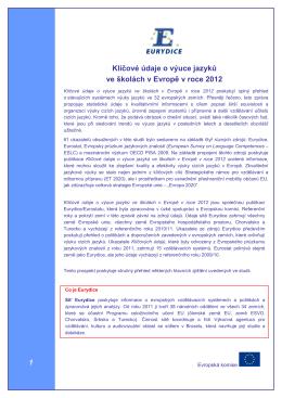 Klíčové údaje o výuce jazyků ve školách v Evropě v roce
