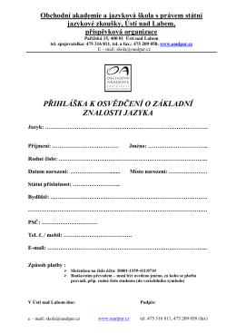 přihláška, (PDF 29 kB) - Obchodní akademie a jazyková škola s