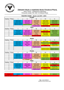Rozvrh školy 2015 - ZŠ a MŠ Chodová Planá