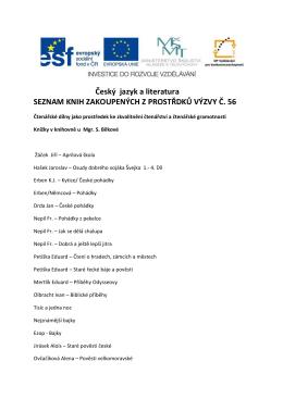 Český jazyk a literatura SEZNAM KNIH ZAKOUPENÝCH Z