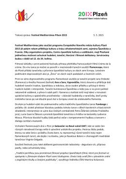 Tisková zpráva: Festival Mediterránea Pilsen 2015 5. 5. 2015