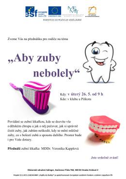 """""""Aby zuby nebolely..."""" přednáška pro rodiče"""