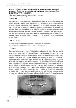 přehled metod pro automatickou segmentaci horní a dolní čelisti v
