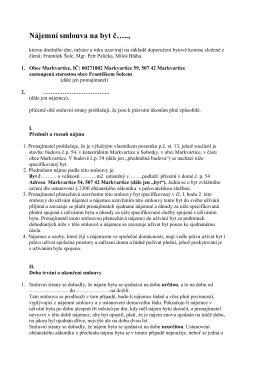 Nájemní smlouva DPS Markvartice