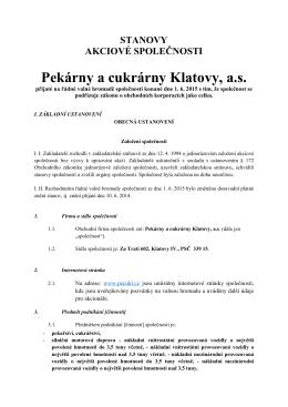 stanovy společnosti - Pekárny a cukrárny Klatovy a.s.