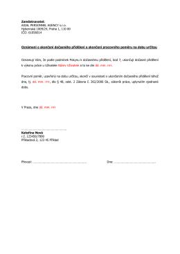 vzor oznámení o skončení dočasného přidělení a ukončení