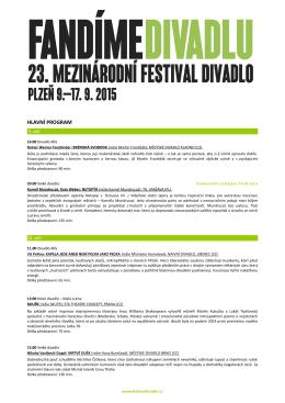 HLAVNÍ PROGRAM - Mezinárodní festival Divadlo