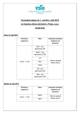 Hromadné zápisy do 1. ročníků v září 2015 na Vysokou školu