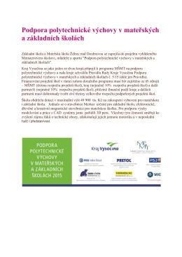 Podpora polytechnické výchovy v mateřských a základních školách