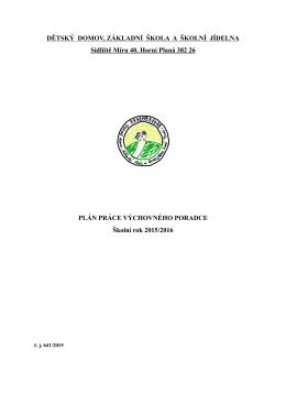 Plán výchovného poradce - Dětský domov a základní škola Horní