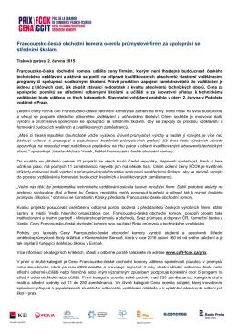 Ceny FČOK pro firmy podporující technické vzdělávání (2.6.2015)