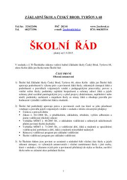 Školní řád - Základní škola Český Brod