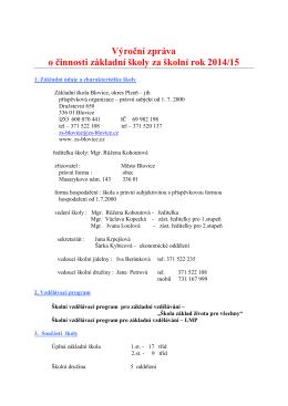 Výroční zpráva o činnosti základní školy za školní rok 2014/15
