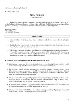 Školní řád od 1. 9. 2015