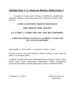 Vyhlášení zápisu k povinné školní docházce