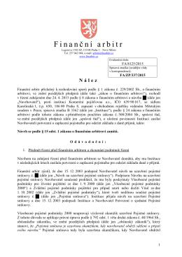 Nález ze dne 31. července 2015 vydaný pod evidenčním číslem FA