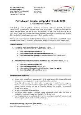 Pravidla pro čerpání příspěvků z Fondu DofE