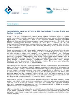 Tisková zpráva - Technologické centrum AV ČR